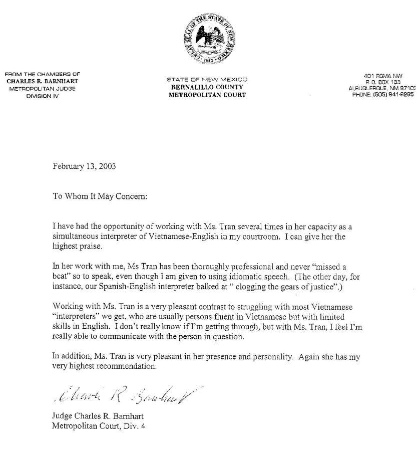 interpreter recommendation letter